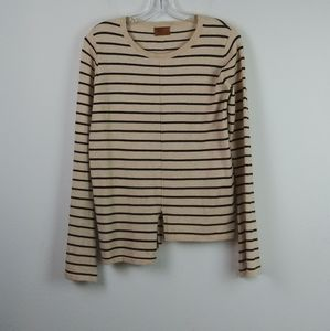 POL Striped Black/Cream Flare Bell Sleeve Top(L)